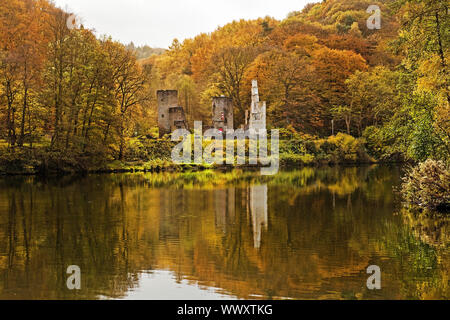 Hardenstein castle ruin on the Ruhr riverbank in autumn, Witten, Ruhr Area, Germany, Europe - Stock Photo