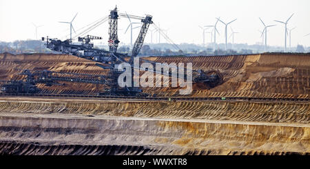 brown coal surface mining with bucket wheel excavator , Garzweiler, Juechen, Germany, Europe - Stock Photo