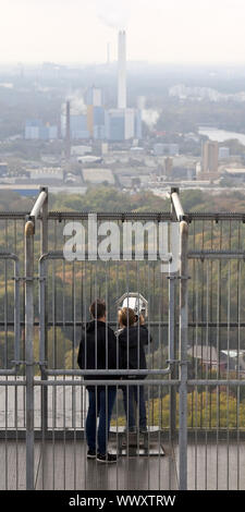 two people looking from the roof of Gasometer, Oberhausen, Ruhr Area, Germany, Europe - Stock Photo