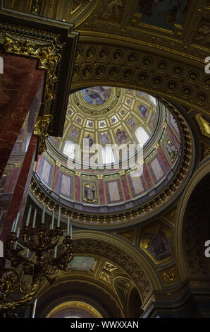 Budapest, Hungary - May 19, 2010:  Interior of St. Stephen's Basilica in Budapest, Hungary. The Basilica is named in honor of Stephen - first King of - Stock Photo