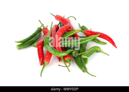 mixed chilli pile isolated on white - Stock Photo