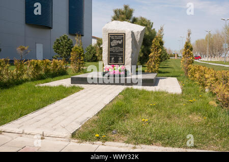 Vityazevo, Russia - April 22, 2016: Memorial sign wars athletes who died in the Great Patriotic War, set in the alley of sports - Stock Photo