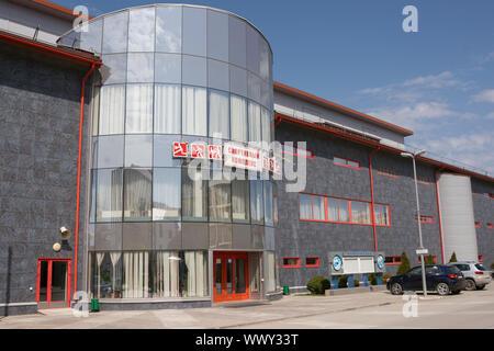 Vityazevo, Russia - April 22, 2016: main entrance to the indoor sports and gaming complex Vityaz in the resort village Vityazevo - Stock Photo