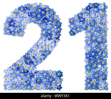 Arabic numeral 21, twenty one, from blue forget-me-not flowers - Stock Photo