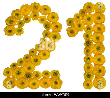 Arabic numeral 21, twenty one, from yellow flowers of buttercup, isolated on white background - Stock Photo