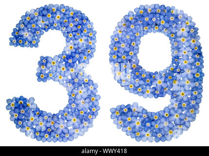 Arabic numeral 39, thirty nine, from blue forget-me-not flowers - Stock Photo