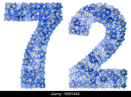 Arabic numeral 72, seventy two, from blue forget-me-not flowers - Stock Photo