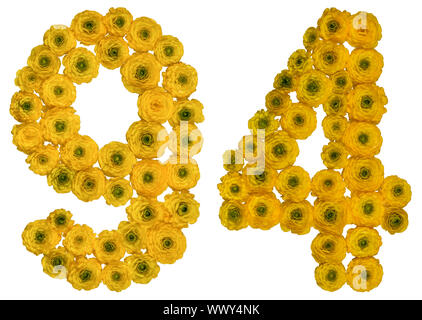 Arabic numeral 94, ninety four, from yellow flowers of buttercup, isolated on white background - Stock Photo