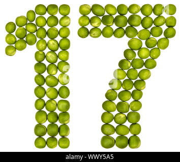 Arabic numeral 17, seventeen, from green peas, isolated on white background - Stock Photo