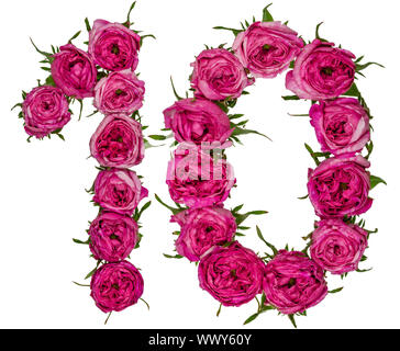 Arabic numeral 10, ten, from red flowers of rose, isolated on white background - Stock Photo
