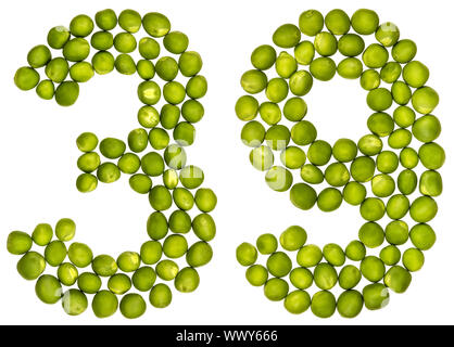 Arabic numeral 39, thirty nine, from green peas, isolated on white background - Stock Photo