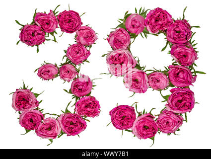 Arabic numeral 39, thirty nine, from red flowers of rose, isolated on white background - Stock Photo