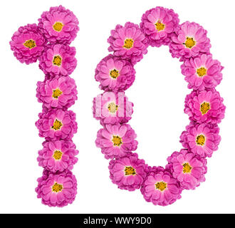 Arabic numeral 10, ten, from flowers of chrysanthemum, isolated on white background - Stock Photo