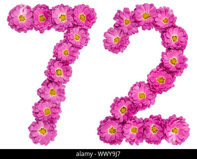 Arabic numeral 72, seventy two, from flowers of chrysanthemum, isolated on white background - Stock Photo