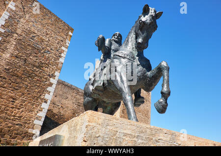 Equestrian statue of Ibn Qasi,  governor of the taifa kingdom of Mertola. Portugal - Stock Photo