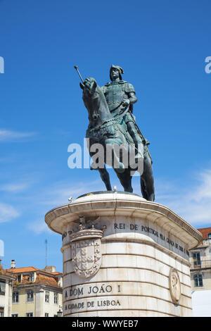Statue of King Joao I on the Praca da Figueira . Lisbon. Portugal - Stock Photo