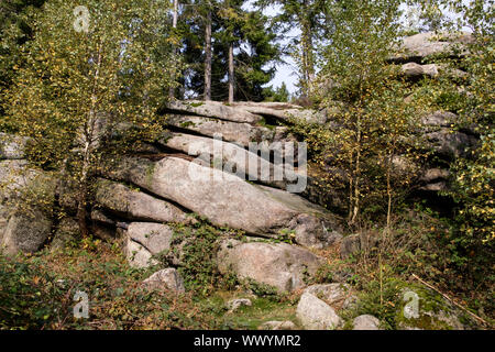 Stone drilled in the Harz National Park in autumn - Stock Photo