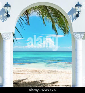 wooden open door arch exit to the beach caribbean dominican republic - Stock Photo