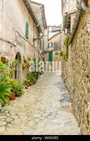 rustic, flowerpots street in the tourist island of Mallorca, Valdemosa city in Spain - Stock Photo
