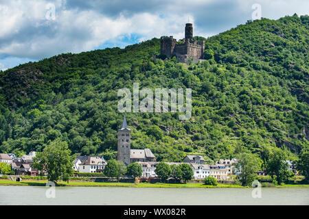 Castle Maus overlooking the Rhine river, UNESCO World Heritage Site, Middle Rhine valley, Rhineland-Palatinate, Germany, Europe - Stock Photo
