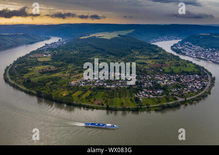 View from the Gedeonseck down to the Rhine bend, UNESCO World Heritage Site, Middle Rhine valley, Rhineland-Palatinate, Germany, Europe - Stock Photo