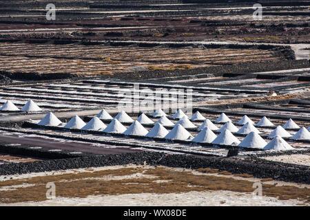 Salinas de Janubio, saltworks in Lanzarote, Canary Islands, Spain - Stock Photo