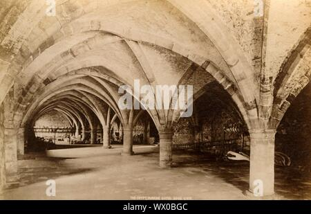 'The Crypt, Durham Cathedral', 1893. The Romanesque cathedral in Durham dates almost entirely from the 12th century. It was a medieval site of pilgrimage due to the presence of the remains of St Cuthbert. It also houses the remains of the Venerable Bede. - Stock Photo