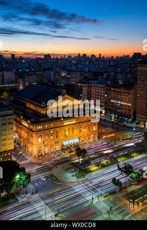 Teatro Colon at night on 9 de Julio Avenue at night, Buenos Aires, Argentina, South America - Stock Photo