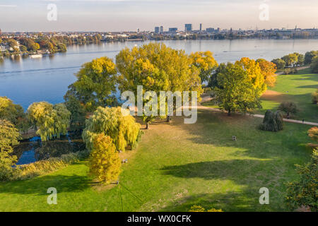 aerial view of alster park in Hamburg - Stock Photo