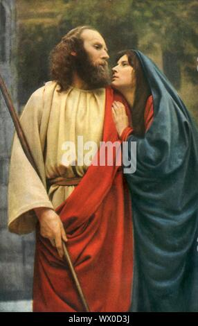 'Bethany', 1922. Jesus (Anton Lang) and the Virgin Mary (Martha Veit): players in the Oberammergau Passion Play. The play is performed every 10 years, on open-air stages, by the inhabitants of the village of Oberammergau in Bavaria, Germany. First staged in 1634, the play tells the story of Jesus' passion, culminating in his crucifixion. The event has become a tourist attraction, with audiences coming from all over the world. Official postcard of the 1922 Oberammergau Passion Play. [F. Bruckmann, Munich, Germany, 1922] - Stock Photo