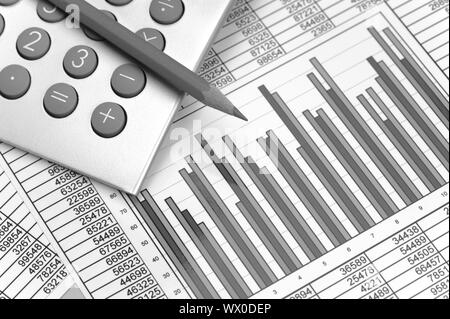 calculator and pencil laying on financial business chart - Stock Photo