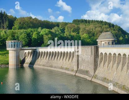 Dam between Listerstausee Reservoir and Biggesee Reservoir,Sauerland,North Rhine westphalia,Germany - Stock Photo