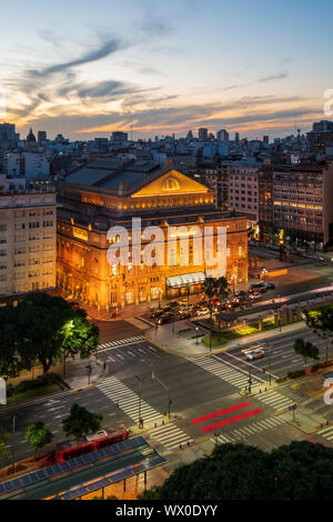 Teatro Colon at sunset on 9 de Julio Avenue at night, Buenos Aires, Argentina, South America - Stock Photo