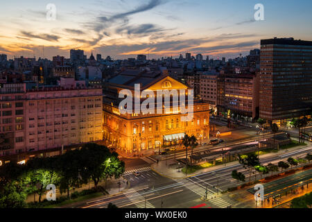 The Teatro Colon at sunset on 9 de Julio Avenue at night, Buenos Aires, Argentina, South America - Stock Photo