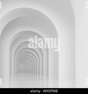 3d Illustration of Architectural Background or Arches Interior