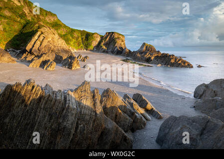 Deserted beach at Lee Bay, North Devon, England, United Kingdom, Europe - Stock Photo