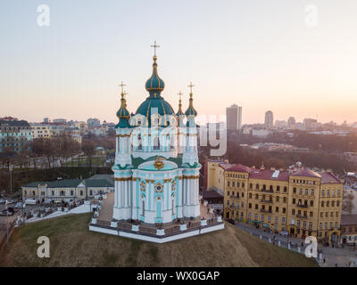 aerial view of Podol and St Andrew's Church on the sunset in Kiev city - Stock Photo