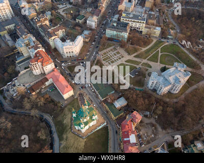 aerial view of Podol and St Andrew's Church in Kiev city - Stock Photo