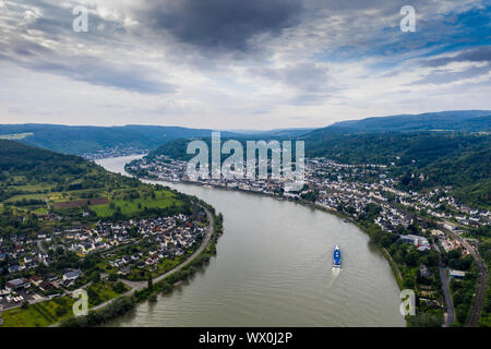 View from the Gedeonseck down to the Rhine at Boppard, UNESCO World Heritage Site, Middle Rhine valley, Rhineland-Palatinate, Germany, Europe