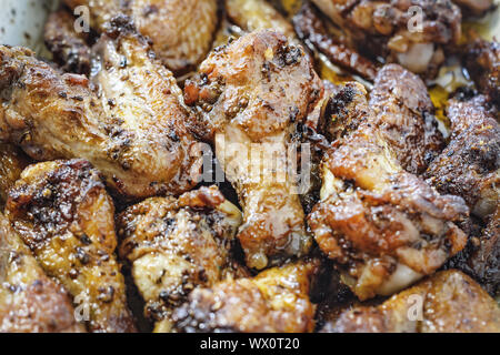 food, barbecue, BBQ, chicken wings, Spicey, Buffalo, Chicken, snack, top view - Stock Photo