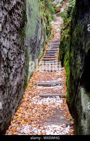 Zittau Mountains Monastery Oybin Knight's Gorge - Stock Photo