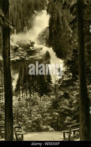 """The Krimml Waterfalls, High Tauern National Park, Austria, c1935. The Krimmlerfälle, in Salzburg state, are the highest waterfalls in Austria with a total height of 380 metres (1,247 feet). From """"Österreich - Land Und Volk"""", (Austria, Land and People). [R. Lechner (Wilhelm Müller), Vienna, c1935]"""