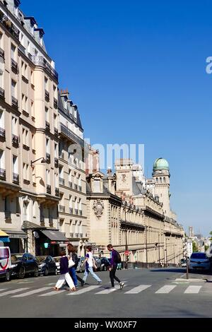 Looking north towards the astronomy tower at the Sorbonne, University of Paris on Rue Saint-Jacques, Paris, France - Stock Photo