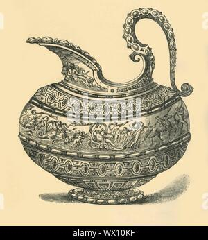 "'Design for a jug', (1881). A jug or ewer decorated with 'a triumphant procession of Venus across the sea, attended by tritons, nymphs, and cupids'. Engraving after an undated drawing, possibly a design for a piece to be carried out in ceramic or metalwork. From ""The South Kensington Museum"", a book of engraved illustrations, with descriptions, of the works of art in the collection of the Victoria & Albert Museum in London (formerly known as the South Kensington Museum). [Sampson Low, Marston, Searle and Rivington, London, 1881] - Stock Photo"