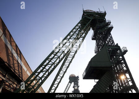 shaft tower of the disused coal mine Westfalen, Ahlen, North Rhine-Westphalia, Germany, Europe - Stock Photo