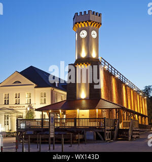 Illuminated graduation house Clock tower in the blue hour, Bad Salzuflen, Germany, Europe - Stock Photo