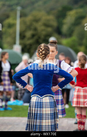 Young highland dancing girls at the Peebles highland games. Peebles, Scottish borders, Scotland - Stock Photo