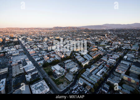 Los Angeles, California, USA - February 20, 2018:  Early morning aerial view above 6th Street in the urban Korea Town area of Los Angeles. Stock Photo