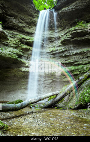 An image of the nice waterfall at the Paehler Schlucht in Bavaria Germany - Stock Photo