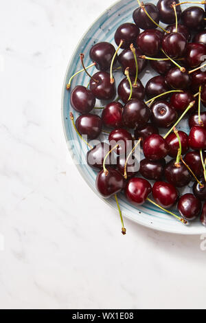 Freshly picked cherries on a half of blue plate on gray concrete background. Colorful organic berries background with copy space - Stock Photo